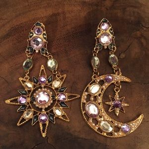 Accessories - Large Ornate Crystal Moon & Sun Earrings